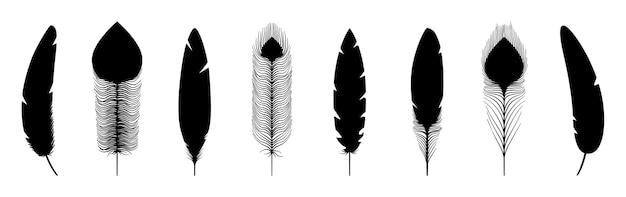 Силуэты черных перьев. векторные иконки перья, изолированные на белом фоне Premium векторы