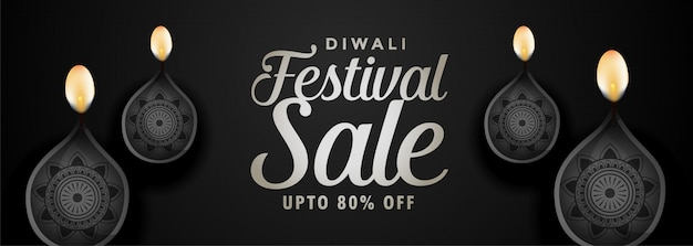 Black festival sale banner for happy diwali Free Vector
