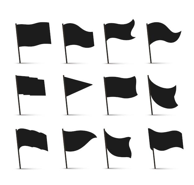 블랙 플래그 아이콘 프리미엄 벡터