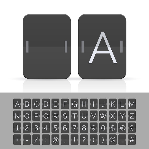 黒のフリップスコアボードのアルファベット、数字、記号。 Premiumベクター