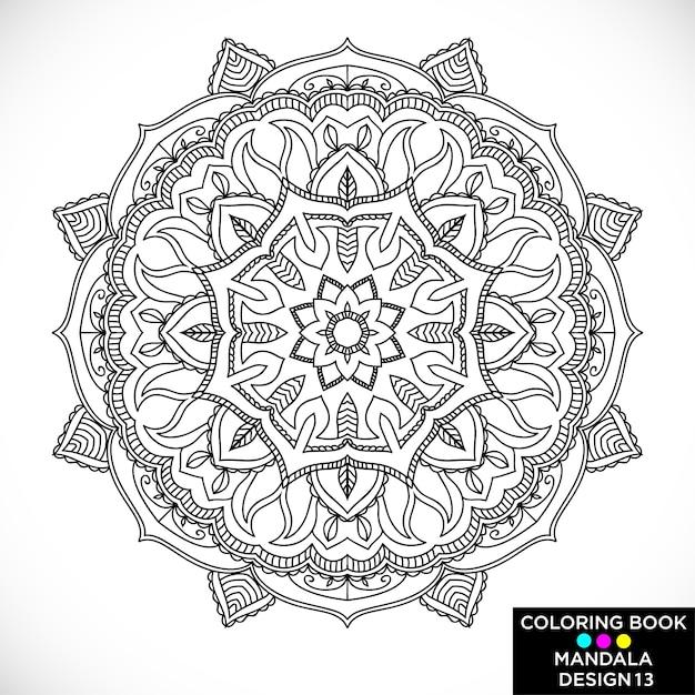 Black Floral Mandala For Coloring Book Free Vector