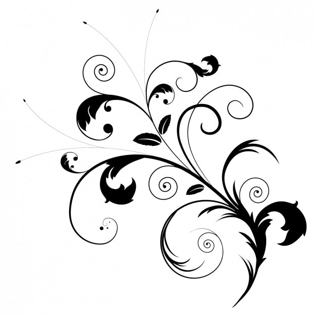 Black Flower Decorative Frame Vectors Material 04 Free: Black Floral Ornament Vector