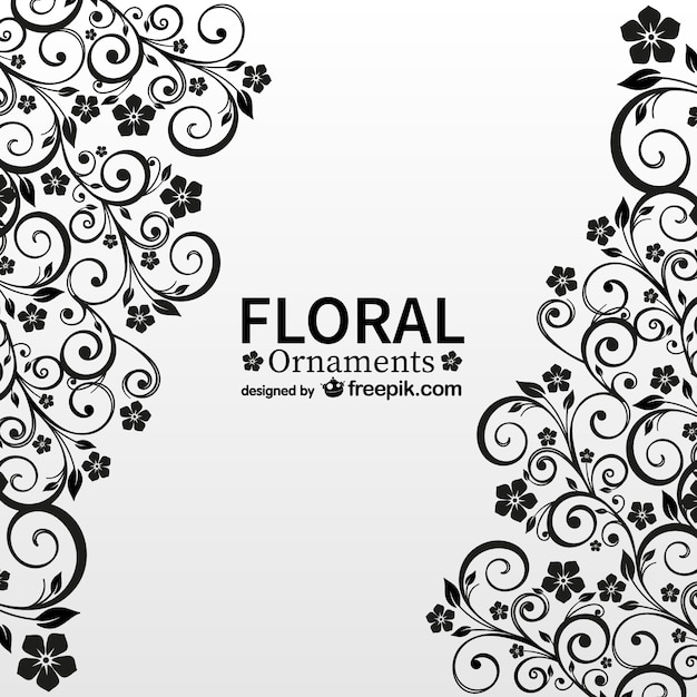 Black floral ornaments Free Vector
