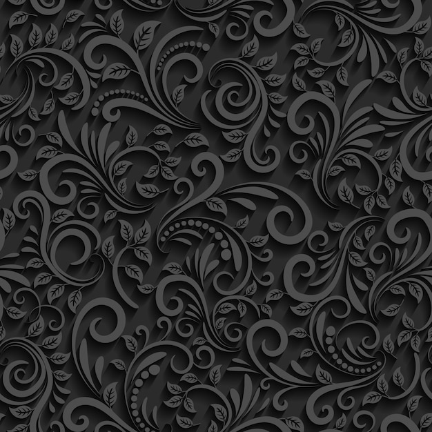Black floral seamless pattern with shadow. Free Vector