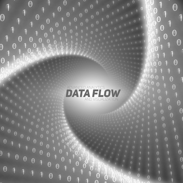 Black flow of big data as binary numbers strings twisted in tunnel. Free Vector