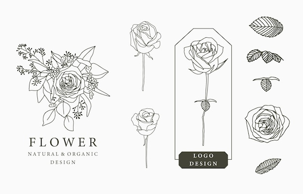 Black flower logo collection with leaves,geometric. Premium Vector