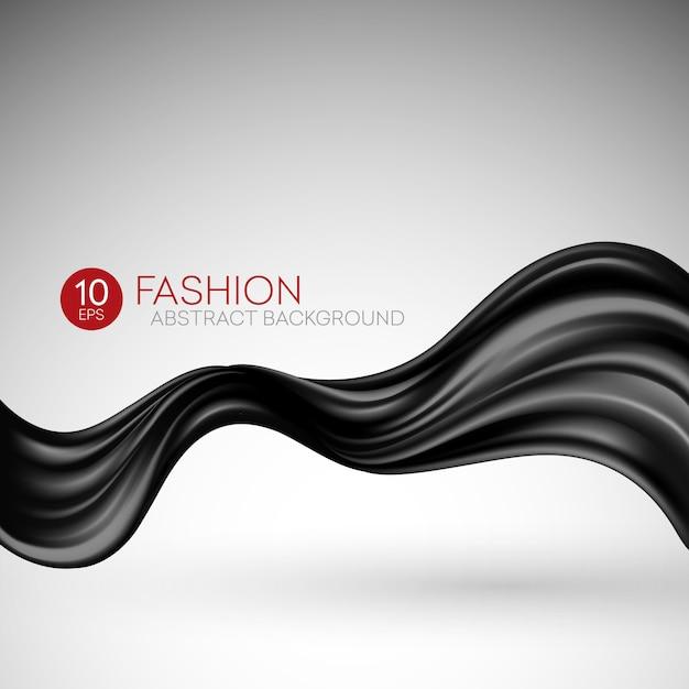 Черная летящая шелковая ткань. fashibackground Premium векторы