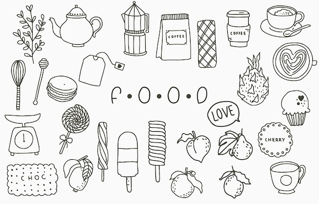 Black food line collection with pot,peach,fruit,ice cream,coffee,tea.vector illustration for icon,l