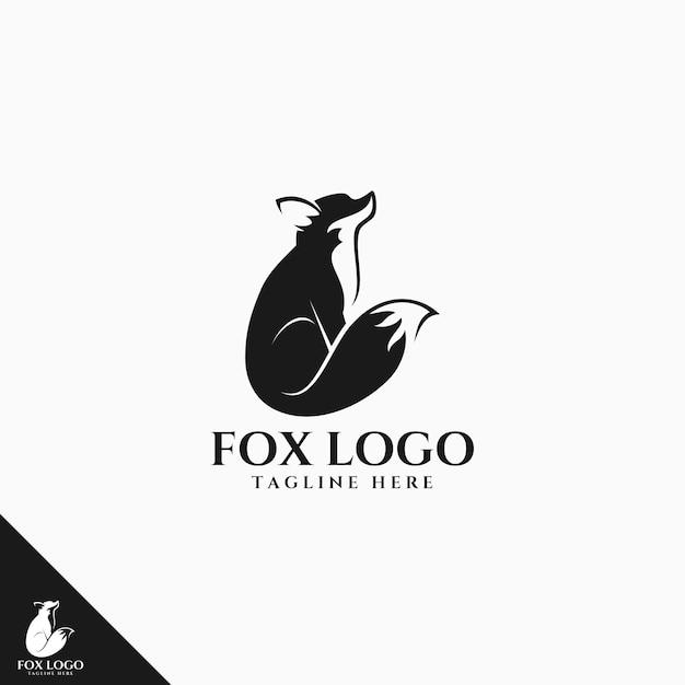 Черный лис логотип Premium векторы