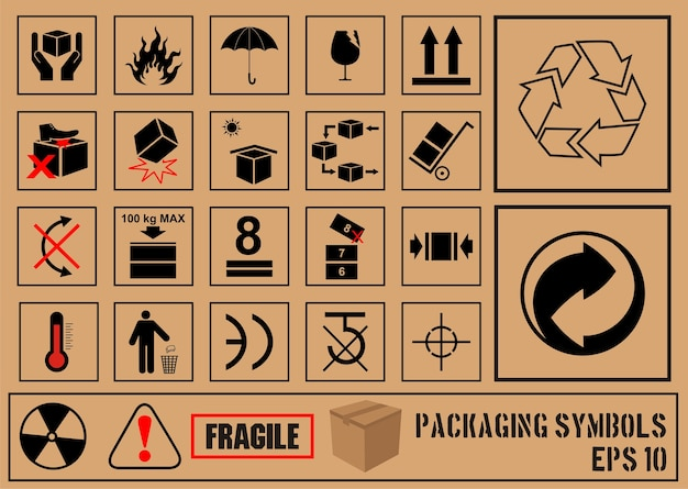 Black fragile symbol on cardboard Premium Vector