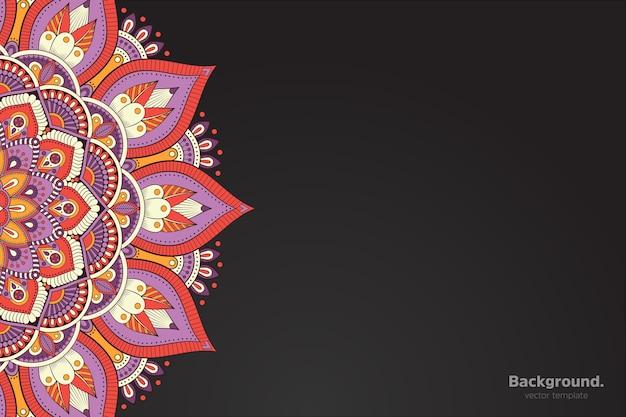 Vettore di cornice nera con mandala orientale astratta Vettore gratuito