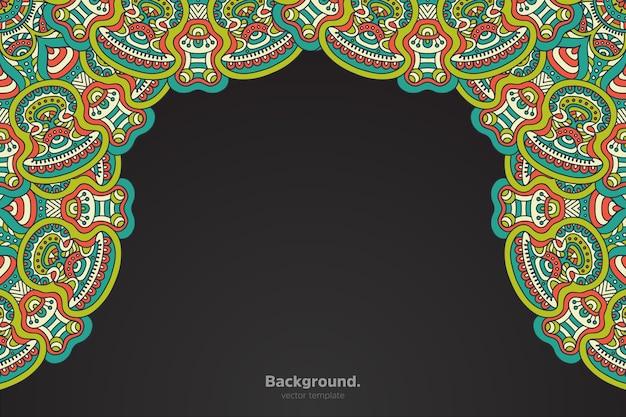 Черная рамка с абстрактной восточной мандалой Бесплатные векторы