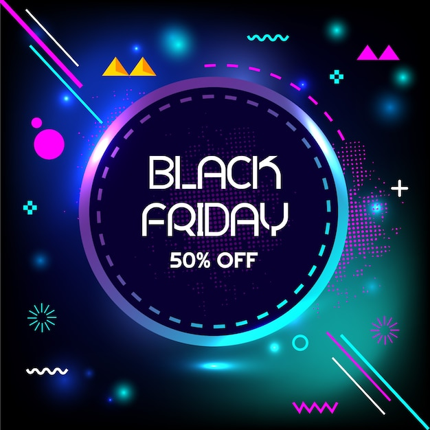 Black friday 50% off special flash sale creative geometry banner Premium Vector