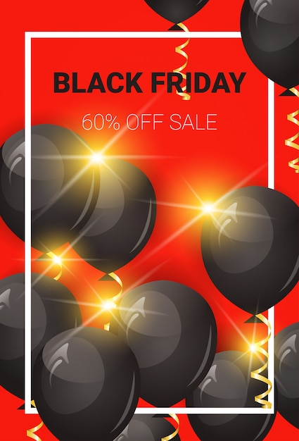 Black friday 60 percent off sale banner with air balloons and frame Premium Vector