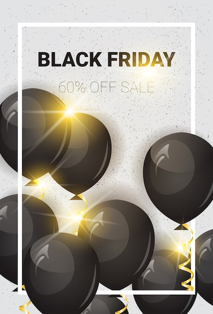Black friday 60 percent off sale banner with air balloons Premium Vector