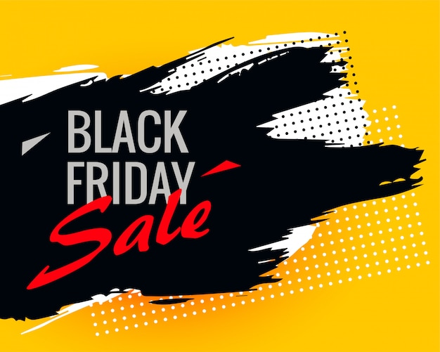 Black friday abstract sale background with ink stroke Free Vector