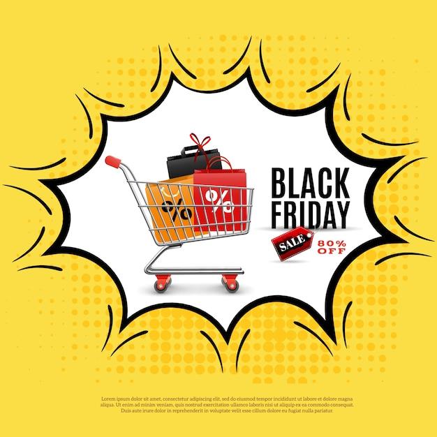 Manifesto pubblicitario venerdì nero su sfondo giallo con carrello della spesa in fumetto illustrazione Vettore gratuito