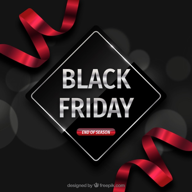 Black friday backgroudn with red ribbons Free Vector