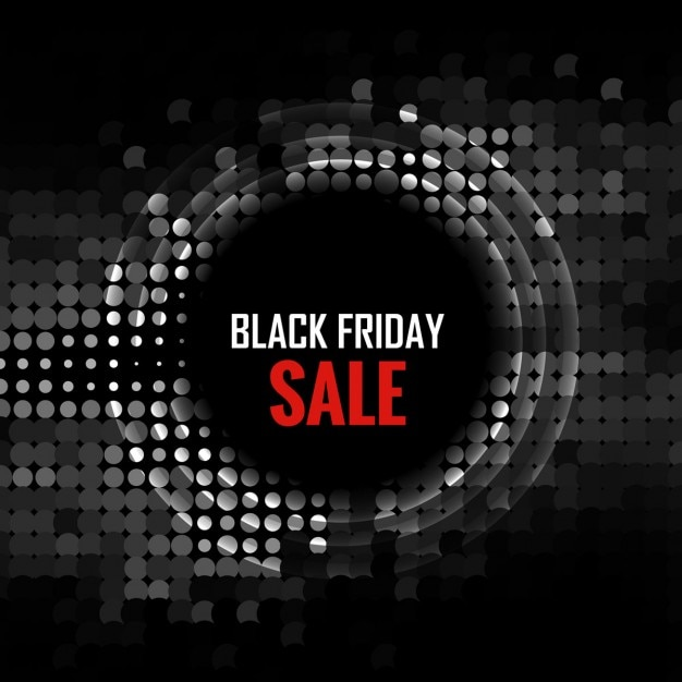 Black Friday background with circle made in halftone Free Vector