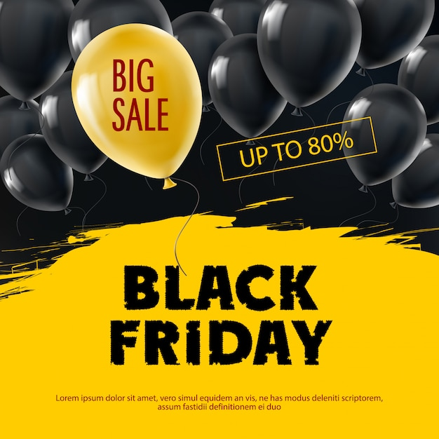 Black friday background with flying realistic balloons. Free Vector