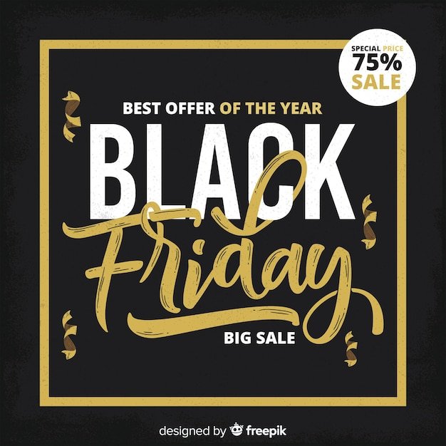 Black friday background with golden frame Free Vector