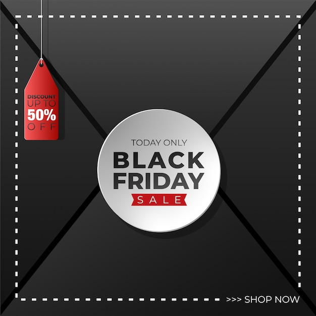 Black friday background with hang tag Premium Vector