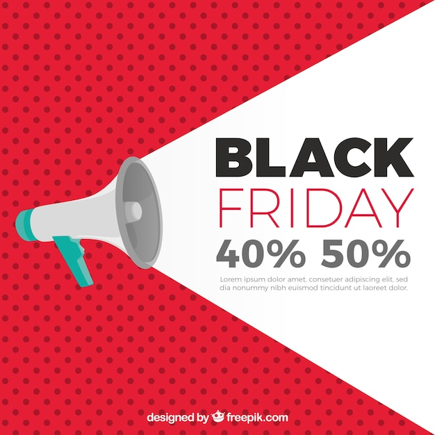 Black friday background with megaphone Free Vector