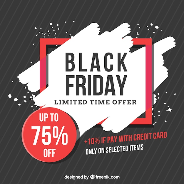 Black friday background with red details Free Vector
