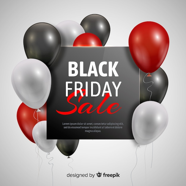 Black friday balloon sale background in black and red Free Vector