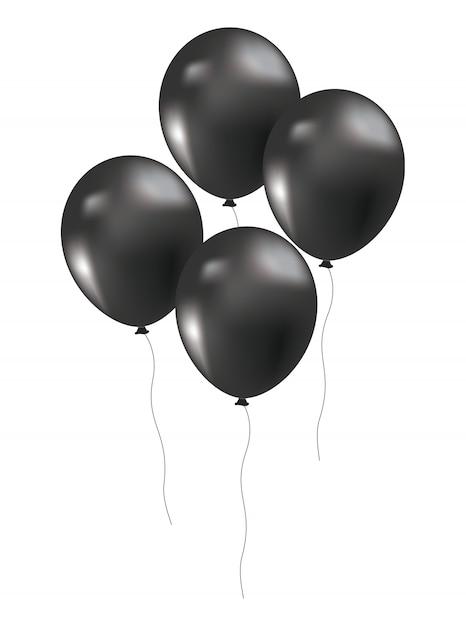 Black friday balloons decoration Premium Vector