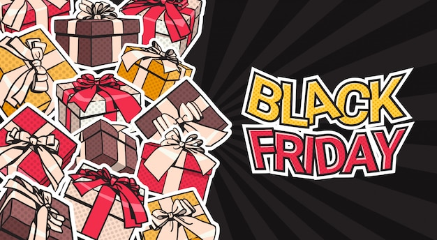 Black friday banner design with present and gift boxes on background shopping poster concept Premium Vector
