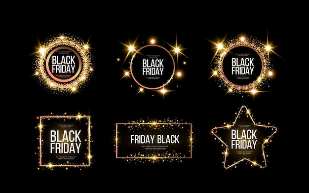 Black friday banner. a festive golden, glowing frame that is strewn with gold dust. Premium Vector