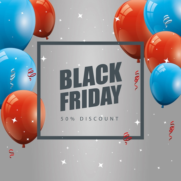Black friday banner and fifty discount with balloons helium decoration Free Vector