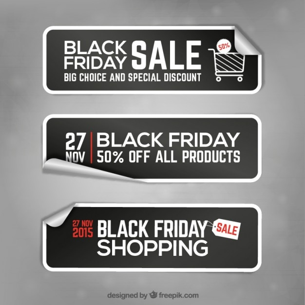 Black friday banner stickers Premium Vector