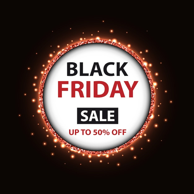 Black friday banner template with round frame Premium Vector