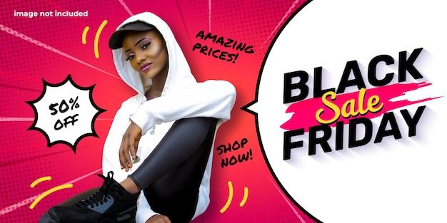 Modello di banner venerdì nero con fumetto e sfondo zoom comico Vettore gratuito