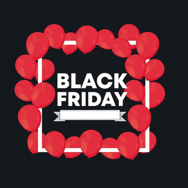 Black friday banner with balloons air Premium Vector