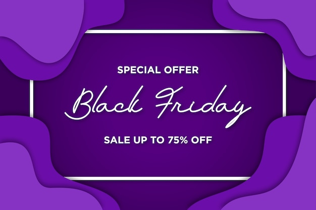 Black friday banner with papercut background Free Vector