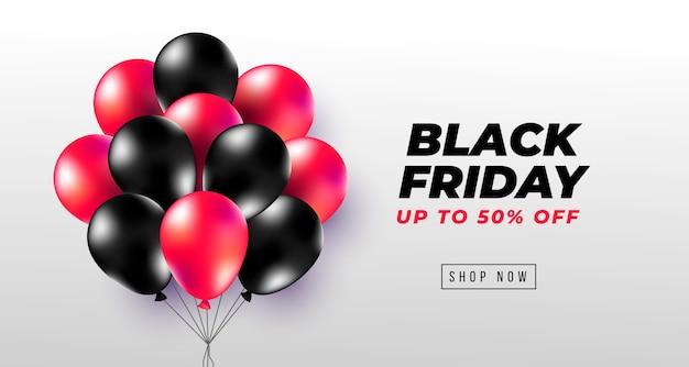 リアルな黒と赤の風船とブラックフライデーバナー 無料ベクター