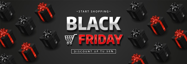 Black friday banner with realistic black gift boxes. Premium Vector