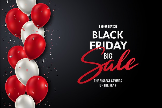 Black friday banner with realistic red and white balloons. Premium Vector