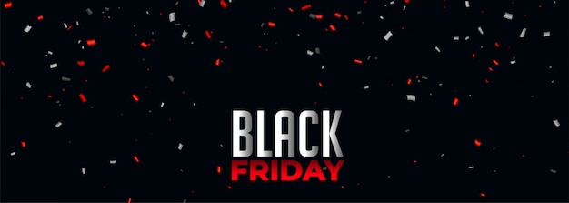 Black friday banner with red and white confetti Free Vector