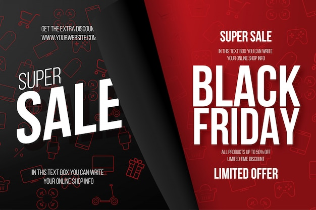 Black friday banner with shop icons Free Vector