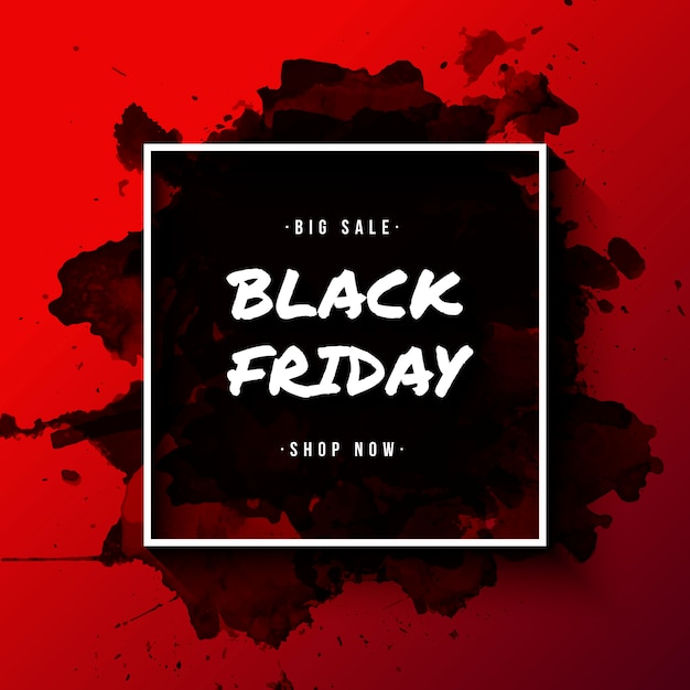 Black friday banner with watercolor splatter Free Vector