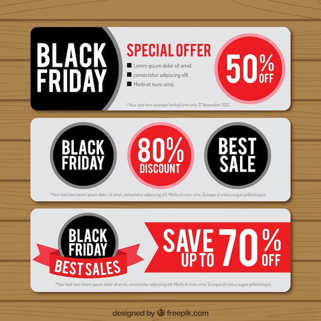 Black friday banners pack Vector | Premium Download