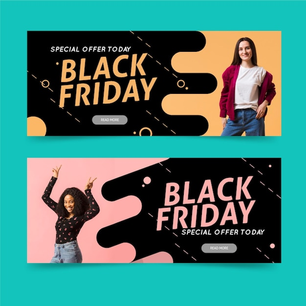 Black friday banners with photo in flat design Free Vector