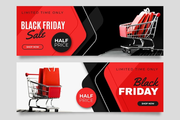 フラットなデザインの写真と黒い金曜日のバナー Premiumベクター
