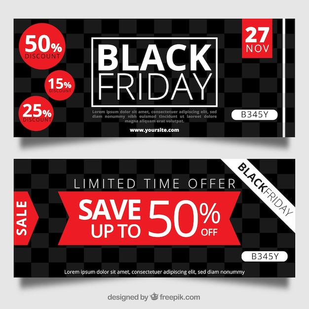 Black friday banners with squares Vector | Free Download