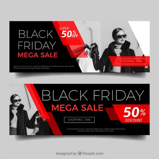 Black friday banners Free Vector