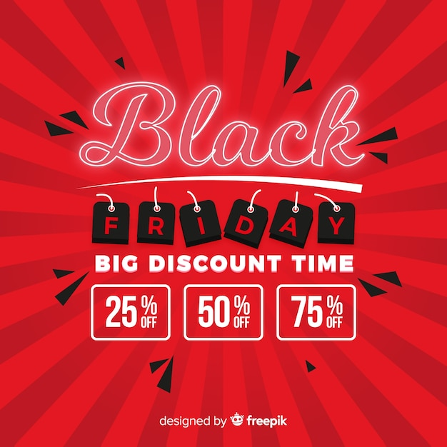Black friday big discount time in flat Free Vector